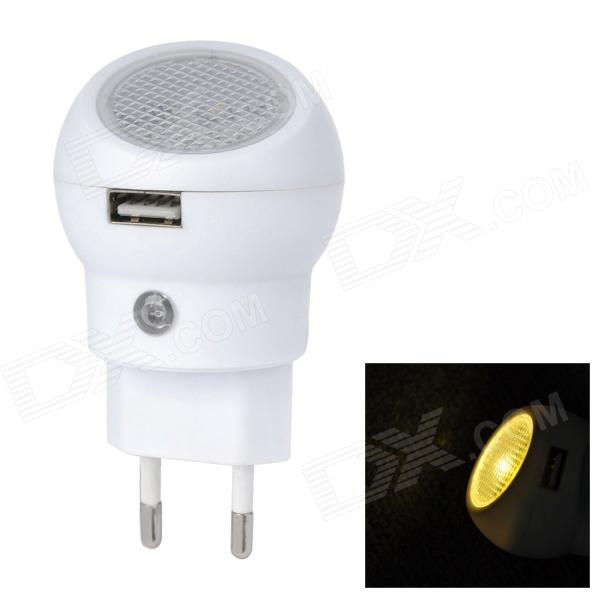 360 Degrees Rotation Mobile Phone Power Charger w/ Night Light + Sensor Switch - White (EU Plug)