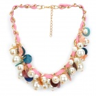 Fashion Gold Plated Aluminum Alloy + PU Chain Artificial Pearl Pendant - Golden + Pink