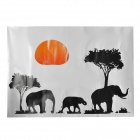 Elephant on the Setting Sun Removable Wall Sticker - Black + Red