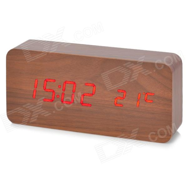 6035 Rosewood Pattern Wood Decorative Desktop Clock - Brown (DC 6V / 4 x AAA)