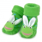 Cute Little Frog with Rabbit Ears Style Baby Non-Slip Cotton Socks - Green + White (Pair)