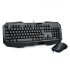 AULA Cool USB Wired Gaming Keyboard w/ Backlight / 6-Multi-Media Key + IR Mouse Set - Black
