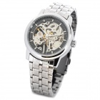 WILON WL2033 Fashion Man's Skeleton Mechanical Wrist Watch - Silver + Black