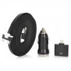 Car Charger + 30-Pin Female to 8-Pin Lightning Male Adapter + 30-Pin Flat Cable for iPhone 5 - Black