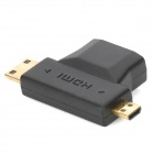 WING-TURN HDMI Female to Mini HDMI Male / Micro HDMI Male Adapter - Black + Golden