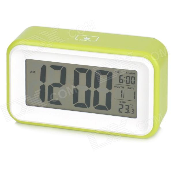 "1017 4.6"" LCD White Light Perpetual Calendar Alarm Clock w/ Backlight / Snooze - Green (3 x AAA)"
