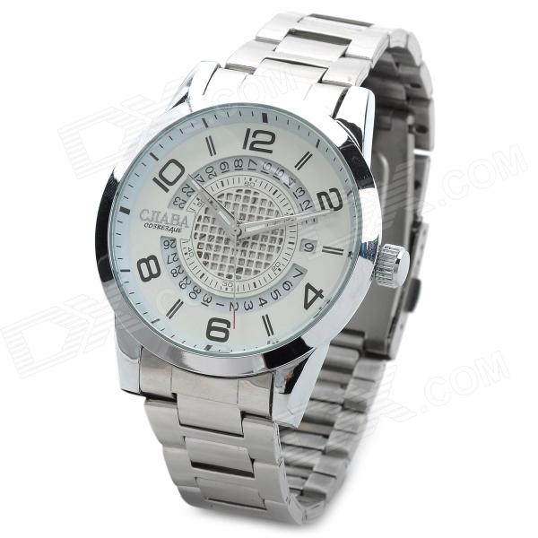 CJIABA GA9011-W Fashion Stainless Steel Band Mechanical Analog Wrist Watch for Men - White + Silver cjiaba gk8001 w pu leather band analog skeleton mechanical wrist watch for men black white