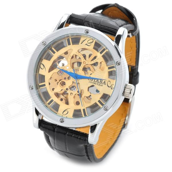 CJIABA GK8015-G Fashion PU Band Mechanical Skeleton Analog Wrist Watch for Men - Black + Golden cjiaba gk8001 w pu leather band analog skeleton mechanical wrist watch for men black white