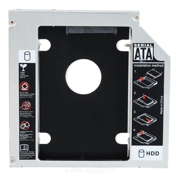 где купить 12.7mm Optical Bay Second SATA HDD Hard Drive Caddy Module Tray Adapter for Laptop - Silver + Black дешево