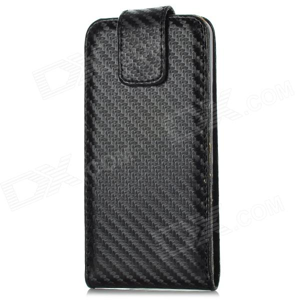Protective Top Flip-Open PU Leather Case for Iphone 5 - Black viruses cell transformation and cancer 5