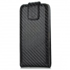 Protective Top Flip-Open PU Leather Case for Iphone 5 - Black