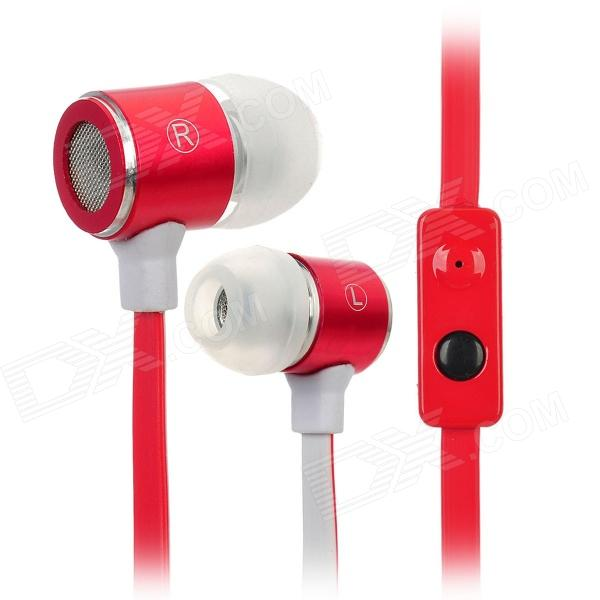 F2-026 Stylish In-Ear Flat Cable Earphone w/ Microphone for Iphone 4 / Iphone 4S - Red + White kz ed8m earphone 3 5mm jack hifi earphones in ear headphones with microphone hands free auricolare for phone auriculares sport