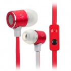 F2-026 Stylish In-Ear Flat Cable Earphone w/ Microphone for iPhone 4 / iPhone 4S - Red + White