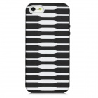 Protective Stripe Pattern Back Case for Iphone 5 - Black + White