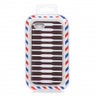 Protective Stripe Pattern Back Case for iPhone 5 - Brown + White