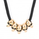 Skull Shaped Fashion Artificial Leather Chain Copper Alloy Pendant Necklace - Golden + Black