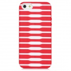 Protective Stripe Pattern Back Case for Iphone 5 - Red + White