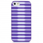 Protective Stripe Pattern Back Case for iPhone 5 - Purple + White
