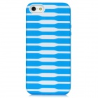Protective Stripe Pattern Back Case for iPhone 5 - Blue + White