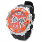 O.TAGE TGA-1019 Sports Rubber Band Analog + Digital Quartz Wrist Watch for Men - Orange + Black