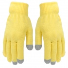 3-Finger Capacitive Screen Touching Hand Warmer Gloves - Yellow