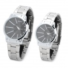 Fashion Stainless Steel Band Analog Quartz Wrist Watches for Couple - Black (Pair)