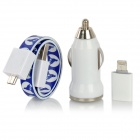 Car Charger + Micro USB to 8-Pin Lightning Adapter + Magnetic Flat Cable for iPhone 5 - Blue
