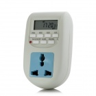 "BS Digital Timer 1.5"" LCD Plug-In Adapter - White + Blue (3-Flat-Pin Plug)"
