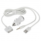 Car AUX Cable USB Male to 3.5mm Audio + 30-Pin Male w/ Car Charger for iPhone / iPad / iPod - White