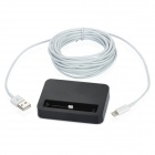 USB to 8pin Lightning Charging Cable + Charging Dock Station for iPhone 5 - White + Black