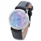 BAIDI 71039 Elegant Lady's Leather Band Analog Quartz Wrist Watch - Black