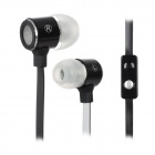 Stylish In-Ear Bass Flat Earphones w/ Microphone for iPhone 4 / 4S - Black + White