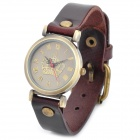 Retro Crown PU Band Analog Quartz Wrist Watch for Women - Brown + Retro Golden