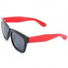 Fashion Retro Resin Lens Sonnenbrille - Schwarz + Rot