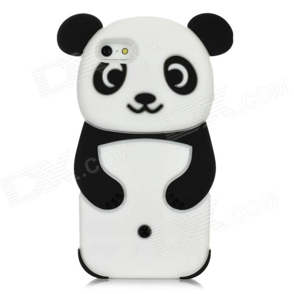 Cute Panda Pattern Protective Silicone Back Case for Iphone 5 - Black + White 3d panda pattern silicone back case for iphone 4 4s red white black