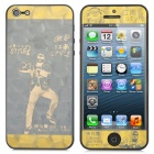 3D Gangnam Style PSY Design Protective Front + Back Skin Sticker for iPhone 5 - Golden
