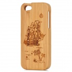 Sailboat Pattern Wooden Back Case for Iphone 5 - Yellow