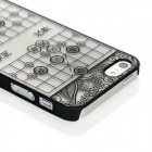 Chinese Chess Pattern Frosted Protective PC Back Case for Iphone 5 - Black + Translucent