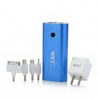 WST-A8 5V 5600mAh Portable External Battery for iPhone 4 / 4s / Nokia / Samsung w/ 4 Adapters - Blue