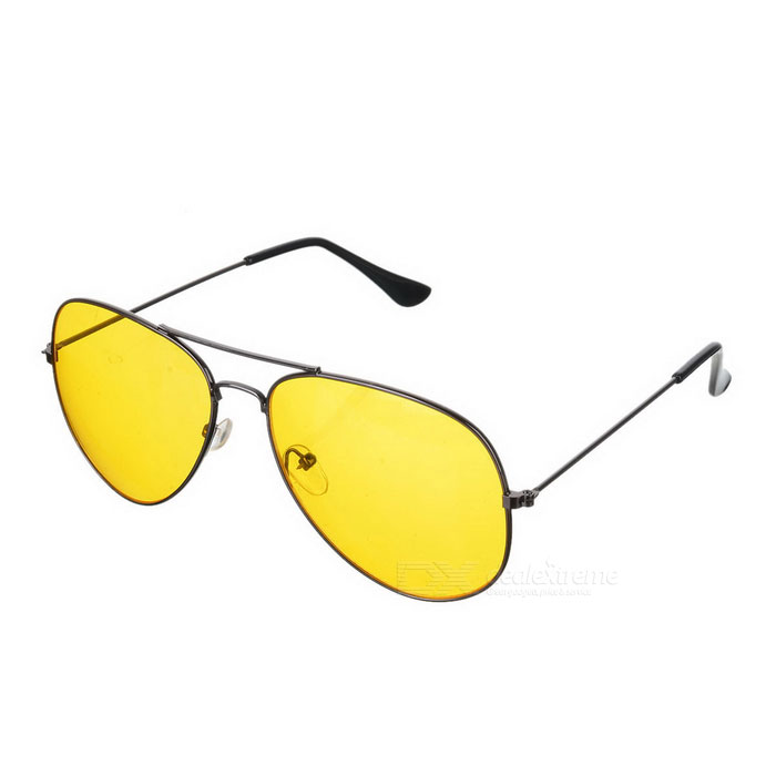 KANO 5672 Zinc Alloy Frame Resin Lens Polarized Night Vision Driving Glasses - Yellow + Black