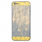 3D Zebra Style Protective Front + Back Skin Sticker for Iphone 5 - Golden