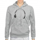 H·D·W 00213 Cute Headphones Man Pattern Causal Cotton Warmer Coat w/ Hat - Grey (Size M)