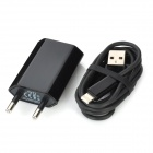 AC Powered Charger + USB 8-Pin Lightning Cable for iPhone 5 / iPod Nano 7 - Black (EU Plug)