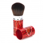 Leopard Grain Pattern Stretchable Aluminum Handle Fiber Cosmetic Makeup Brush - Red + Black