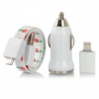 Car Charger + Micro USB to 8-Pin Lightning Adapter + Magnetic Rose Flat Cable for iPhone 5 - Red