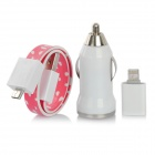 Car Charger + Micro USB to 8-Pin Lightning Adapter + Magnetic Flat Cable for iPhone 5 - Red