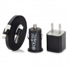 AC/Car Powered Charging Adapter Charger + 8-Pin Lightning Flat Cable for iPhone 5 - Black (3 PCS)