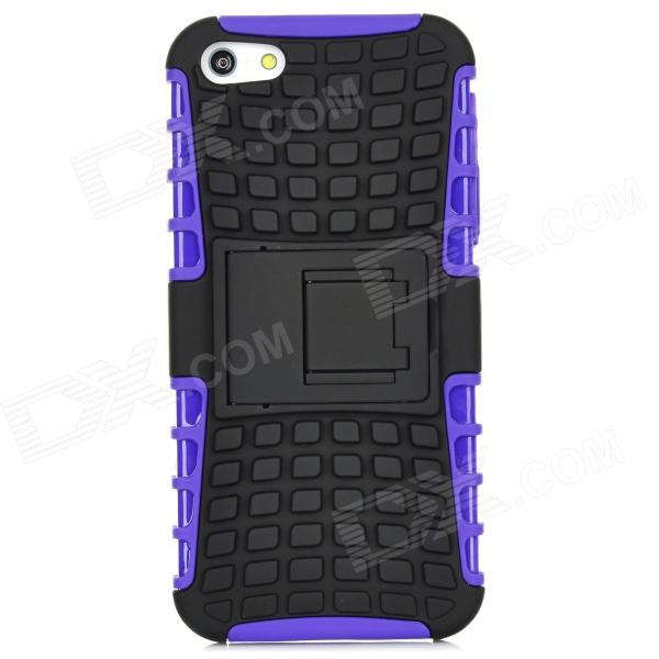 3D Checked Pattern Protective Silicone Back Case w/ Stand for Iphone 5 - Purple + Black рюкзак case logic 17 3 prevailer black prev217blk mid