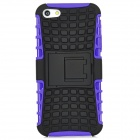 3D Checked Pattern Protective Silicone Back Case w/ Stand for Iphone 5 - Purple + Black