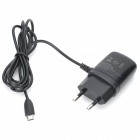 AC Powered Charging Adapter Charger w/ Micro USB Port for Samsung / HTC - Black (2-Round-Pin Plug)
